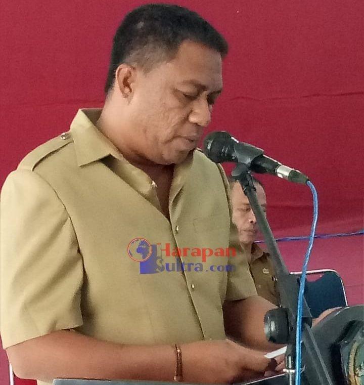 Plt. Bupati Busel. H. La Ode Arusani saat menyampaikan sambutan dihadapan sidang Paripurna DPRD