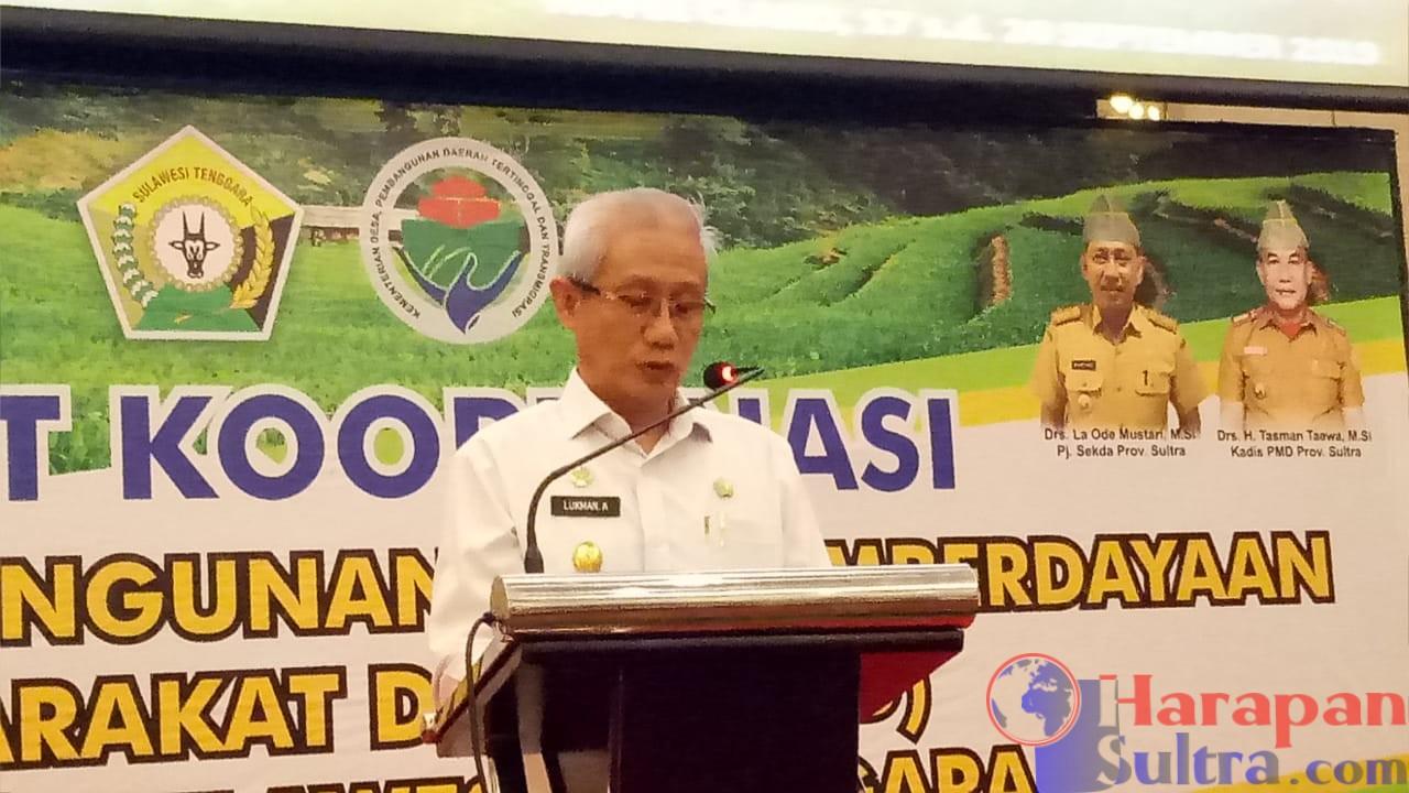 Wagub Sultra, Lukman Abunawas saat menyampaikan sambutan diacara Rakor P3MD se Sultra