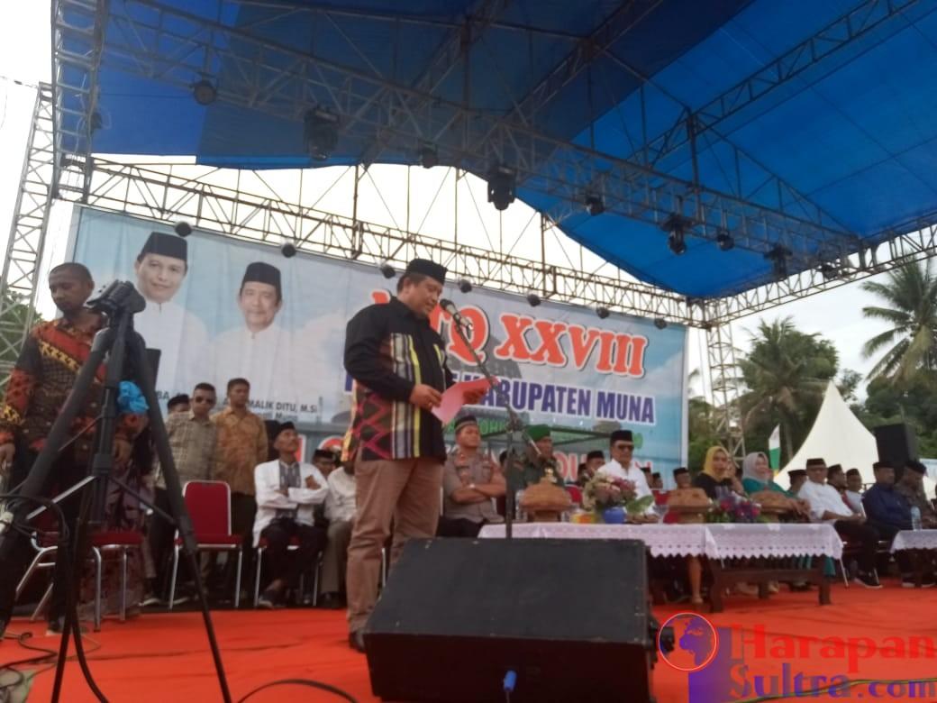 Ketgam : Bupati Muna, LM Rusman Emba saat membuka kegiatan MTQ XXVIII Kab. Muna.