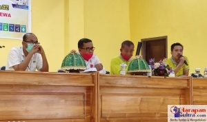 Dari kiri, Kadis PMD Ahmad Syahroni, Asisten III La ode Harwanto, Camat lapandewa La Nilo dan TAPMD PDTT Kemendes Abady Makmur
