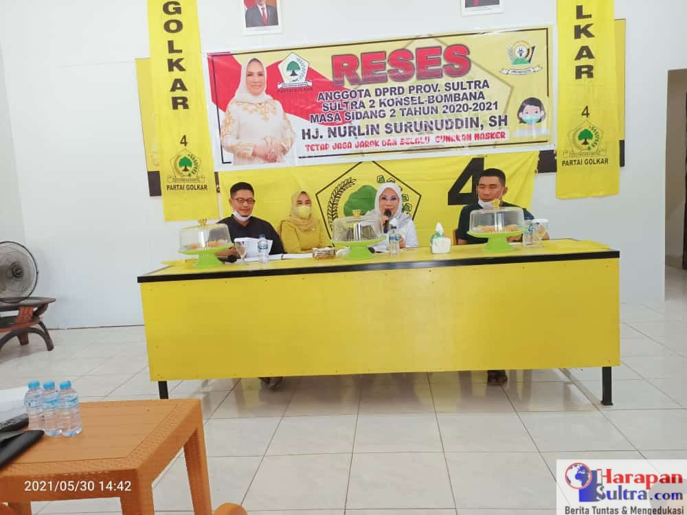 Anggota DPRD Prov. Sulawesi Tenggara, Nurlin Surunudin saat berkunjung ke Kantor DPD II Partai Golkar Bombana.