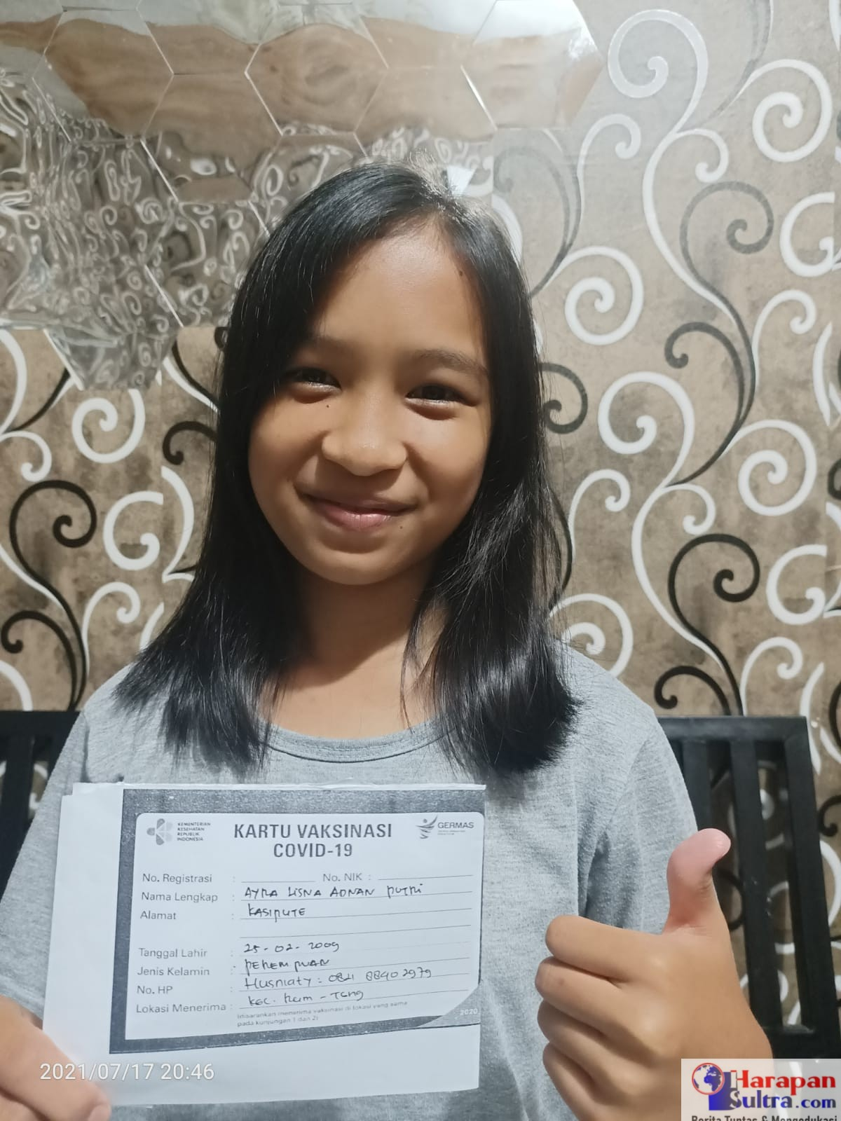 Ayra Lisna (12) Remaja Puteri yang mengikuti program serbuan vaksin Koramil